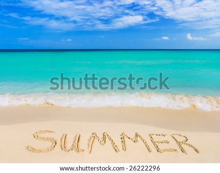 Word Summer on beach - vacation concept background - stock photo