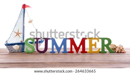 Word summer on wooden berth
