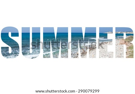 Word SUMMER over pebble beach and blue water of the Mediterranean Sea. - stock photo