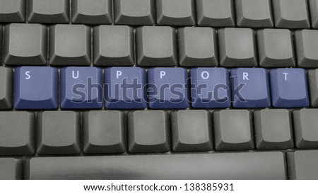 Word support written on black keyboard.