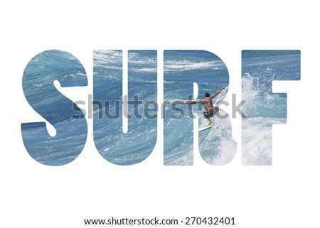 Word SURF riding giant ocean wave in Hawaii - stock photo