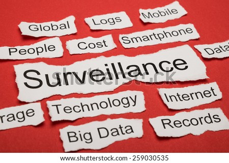 Word Surveillance On Piece Of Paper Salient Among Other Related Keywords - stock photo