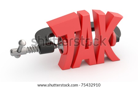 Word tax in clamp, tax reduction concept. - stock photo