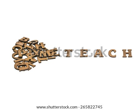 Word teach made with block wooden letters next to a pile of other letters over the wooden board surface composition, clipping path included. - stock photo