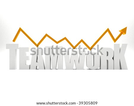 Word 'teamwork' in 3D isolated over a white background