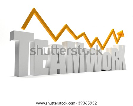 word teamwork in 3D isolated over a white background