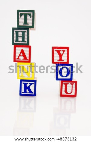Word Thank you in wooden blocks
