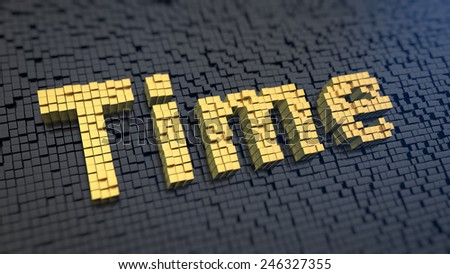 Word 'Time' of the yellow square pixels on a black matrix background. Time management concept. - stock photo