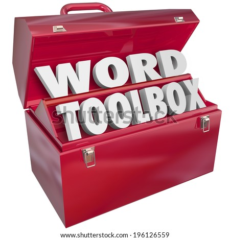 Word Toolbox 3d letters set of skills, projects and instructions learn spell, read understand vocabulary - stock photo