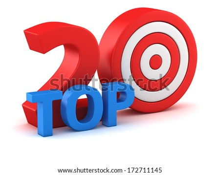 Word Top 20 with dartboard on white background - stock photo