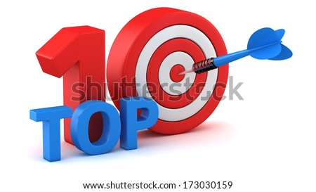 Word Top 10 with dartboard on white background - stock photo