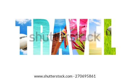 "word ""TRAVEL"" - a concept fabric texture - stock photo"