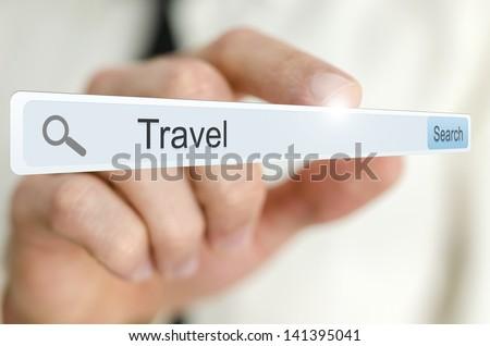 Word Travel written in search bar on virtual screen. - stock photo