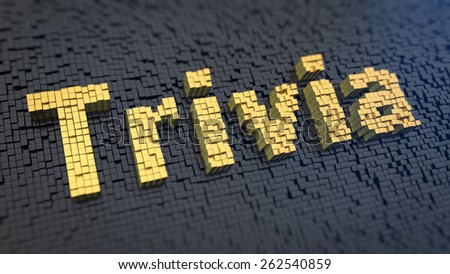 Word 'Trivia' of the yellow square pixels on a black matrix background. Quiz concept. - stock photo