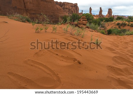 Word Utah written on a sand near Tower Arch Trail  - stock photo