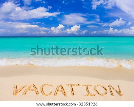 Word Vacation on beach - concept travel background
