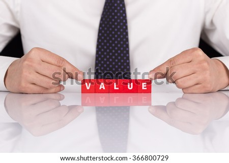 """Word """"VALUE"""" with blocks - stock photo"""