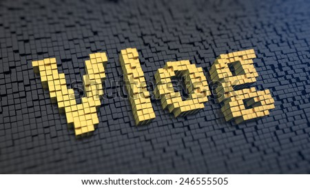 Word 'Vlog' of the yellow square pixels on a black matrix background ... Vintage Camera Backgrounds