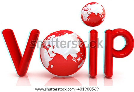 Word VoIP with 3D globeon a white background. Anaglyph. View with red/cyan glasses to see in 3D. - stock photo