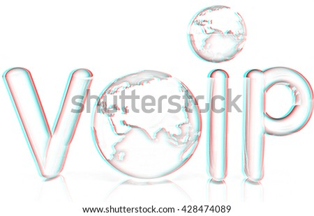 Word VoIP with 3D globeon a white background. Pencil drawing. 3D illustration. Anaglyph. View with red/cyan glasses to see in 3D. - stock photo