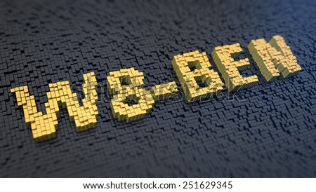 Word 'W8-BEN' of the yellow square pixels on a black matrix background. Tax form for foreign taxpayers - stock photo