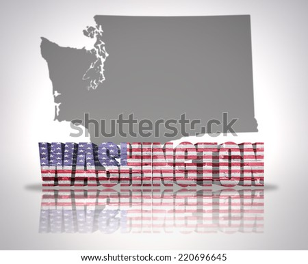 Word Washington with National Flag of USA near map State - stock photo