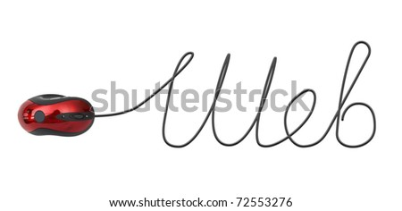 Word Web made of computer mouse cable isolated on white background - stock photo