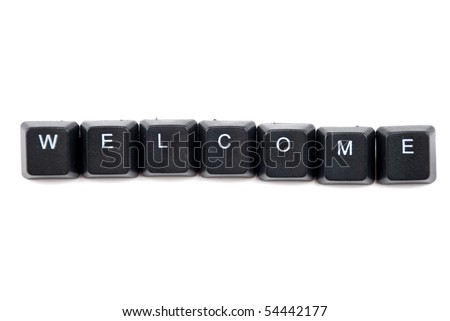 Word welcome composed with black letter of computer keyboard isolated on white background,copy space for your text message