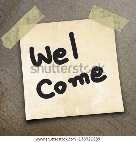word welcome on the packing paper box texture background