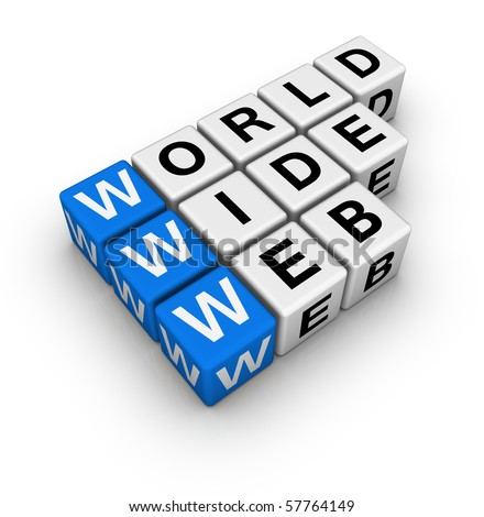 word wide web (blue-white cubes crossword series) - stock photo