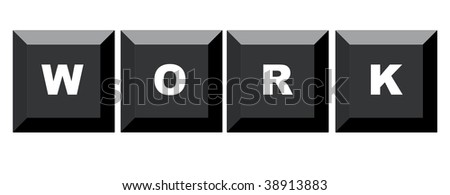 Word work spelled on black computer keyboard, isolated on white background. - stock photo