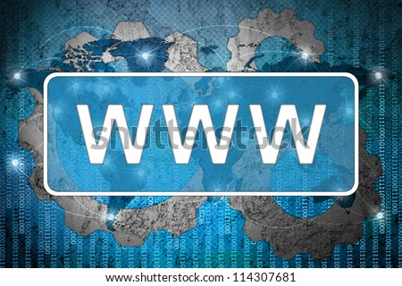 Word www on network background - stock photo