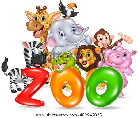 Word zoo with happy cartoon wild animal africa - stock photo