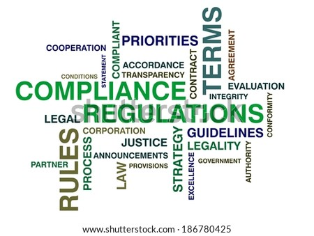 wordcloud for compliance and regulations - stock photo