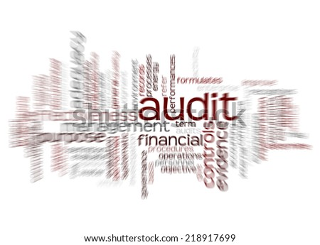 Wordcloud of Audit and its associates with motion effect - stock photo