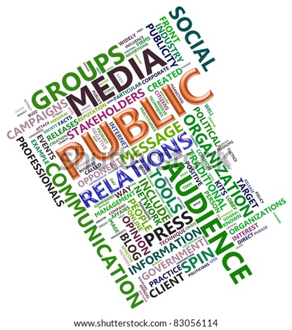 Wordcloud related to word public relation - stock photo