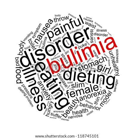 Wordcloud with conceptual Bulimia or Eating disorder  related words on white background - stock photo