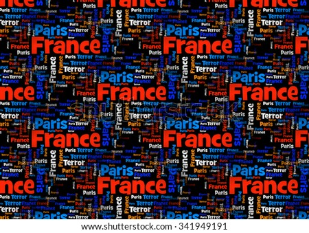 Wordcloud with the words Paris France Terror on black background. - stock photo