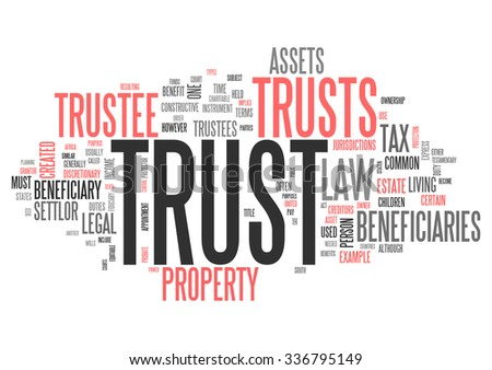 Wordcloud with Trust related tags - stock photo
