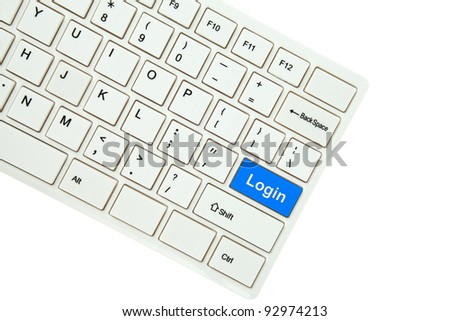 Wording Login on computer keyboard isolated on white background - stock photo