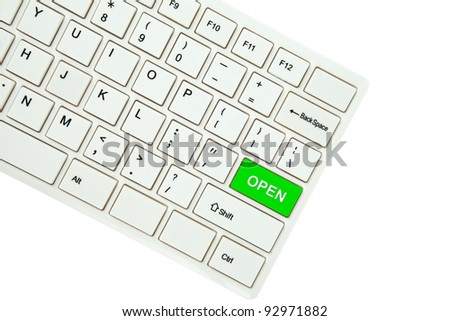 Wording Open on computer keyboard isolated on white background - stock photo