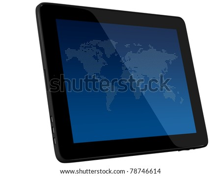 Wordl Map On Tablet PC Computer Monitor