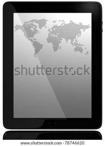 Wordl Map On Tablet PC Computer Monitor - stock photo