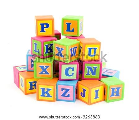 words alphabet blocks studio isolated - stock photo