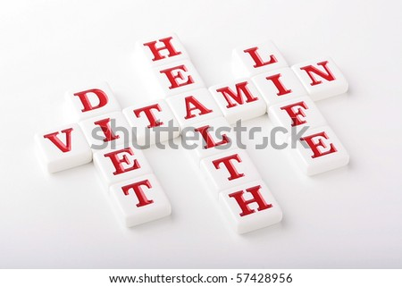 Words are made of white ceramic cubes with letters connected with health and eutrophy.