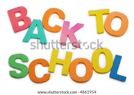 Words Back to school isolated on the white background - stock photo
