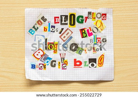 Words  BLOG from various letters cut out of newspapers and magazines - stock photo