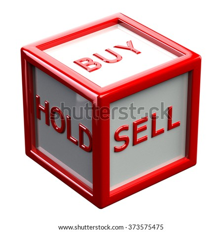 Words buy, hold, sale sale written on block, isolated on white background.