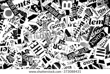 words cut from a magazine, background - stock photo