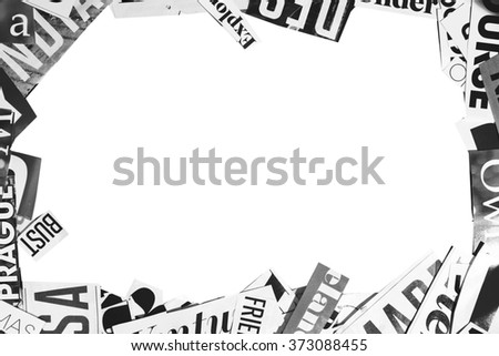 words cut from a magazine on a white background - stock photo